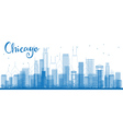 Outline Chicago city skyline with blue skyscrapers vector image vector image