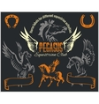 Pegasus and horses vintage labels badges vector image