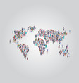 people crowd gathering in world map icon shape vector image vector image