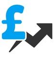 Pound Price Growth Flat Icon Symbol vector image