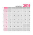 practical light-colored planner 2019 january vector image vector image