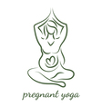 Pregnant women in yoga pose in line art style vector image
