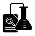research solid icon chemical flask and document vector image