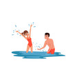 romantic couple having fun in the sea man and vector image vector image