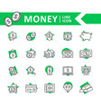 set bank and money line icons coin vector image