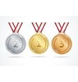 set gold silver and bronze medals vector image
