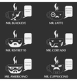 set of coffee cup character vector image vector image
