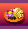shiny breakfast with fruits and coffee vector image vector image
