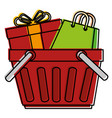 shopping basket with gift and bag vector image vector image