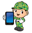 soldier character and smartphone directions vector image vector image