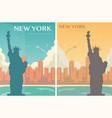 statue liberty banner set world landmark vector image vector image