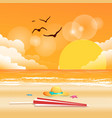 summer beach umbrella hat sunset background vector image vector image