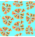 texture of pattern with margherita pizza Slices in vector image
