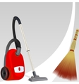Vacuum cleaner and broom vector image vector image