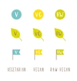 Vegetarian vegan raw vegan tags vector image vector image