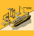Water freight delivery yellow isometric line art