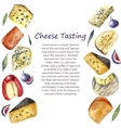 Watercolor cheese set with place for text vector image vector image