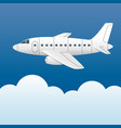 white plane on a background of blue sky and white vector image vector image