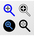 zoom in eps icon with contour version vector image