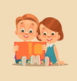children brother and sister characters read book vector image