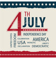 postcard independence day usa july 4 with the tag vector image