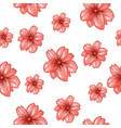 seamless pattern with pink flowers on the white vector image