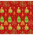 Christmas pattern with Xmas trees and snowflakes vector image