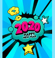 2020 happy new year banner with comic and vector image