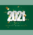 2021 new year greeting card on green background vector image vector image