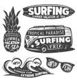 vintage monochrome surfing graphics set