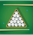 billiard stick and white pool balls in triangle on vector image vector image