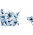 blue flowers watercolor floral wreath retro vector image vector image