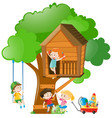 boys and girls on treehouse vector image vector image