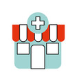 building exterior pharmacy cross medical vector image