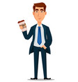business man in formal suit holding cup of coffee vector image vector image