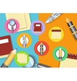 Business workplace with magnifying glass papers vector image