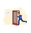 businessman runs into open door human is running vector image