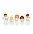 Caroling kids set vector image
