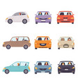 cars with drivers set side and front view vector image vector image