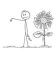 cartoon man or businessman seeding coin to vector image