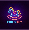 child toy neon label vector image
