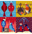 christmas birds in funny hats xmas cards set vector image vector image
