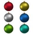 colorful christmas balls red blue green gray vector image