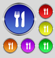crossed fork over knife icon sign Round symbol on vector image
