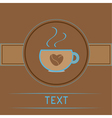 Cup with coffee seeds heart Love card vector image vector image