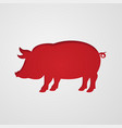 cut out pig in paper design isolated on white vector image vector image