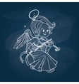 Cute happy smilingy Christmas bab angel playing vector image vector image
