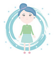 cute little girl with paint and stars pattern vector image