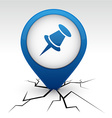 Drawing-pin blue icon in crack vector image vector image