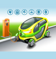electric car with options icons on station vector image